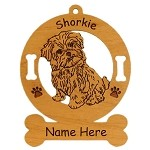 3972 Shorkie Sitting Ornament Personalized with Your Dog's Name